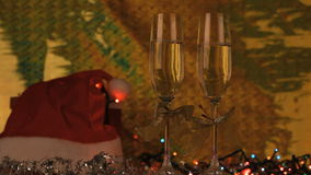 Two glasses with champagne. Footage stock video footage