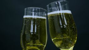 Two Glasses with Champagne in Hands.  stock video footage