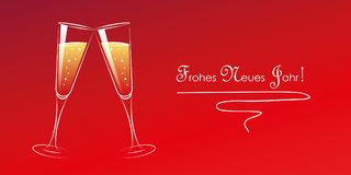 Two glasses of champagne happy new year stock illustration