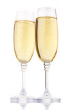 Two glasses of champagne isolated on white Royalty Free Stock Photo