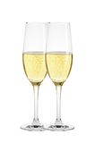 Two glasses of champagne isolated on white Stock Images