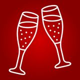 Two glasses of champagne line icon, valentines day. And romantic, celebrate sign vector graphics, a linear pattern on a red background, eps 10 Royalty Free Stock Photos