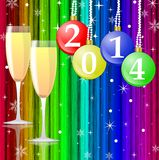 Two glasses with champagne and new-year balls. On a bright abstract background, illustration stock illustration