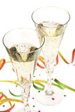 Two glasses of champagne on new year's eve Royalty Free Stock Photos