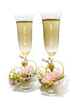 Two glasses of champagne for newly-weds Stock Photos