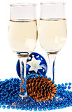 Two glasses with champagne Stock Images