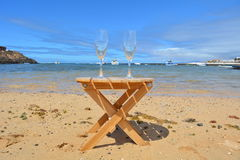 Two Glasses Of Champagne In Paradise Island Stock Photos