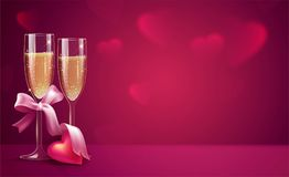 Two glasses of champagne with pink ribbon on pink background. Be. Autiful romantic background with place for text for Valentines day. Vetor illustration Royalty Free Stock Photo
