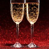 Two glasses of champagne ready for christmas celebration Stock Photo