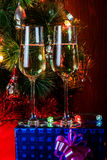Two glasses of champagne. Selective focus on glasses Royalty Free Stock Photography