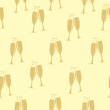 Two Glasses of Champagne Silhouette Seamless Stock Photo
