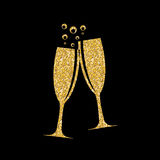 Two Glasses of Champagne Silhouette Vector Illustration. EPS10 Stock Photo