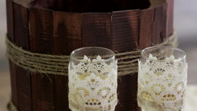 Two glasses with champagne standing on the table.  stock video