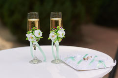 Two glasses of champagne on the table for the wedding ceremony Stock Image