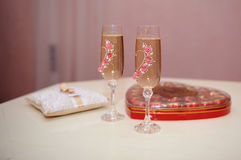 Two glasses of champagne on the table for the wedding ceremony Royalty Free Stock Image