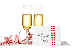 Two Glasses of Champagne and Valentine's Day Card Royalty Free Stock Images