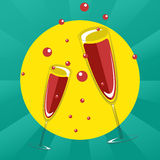 Two glasses of champagne. Vector illustration Royalty Free Stock Photos