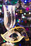 Two glasses of champagne and venetian mask Royalty Free Stock Photo