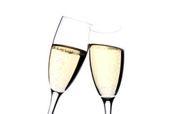 Two glasses champagne on white close up Royalty Free Stock Photo