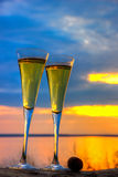 Two glasses of champagne white wine standing on a log Royalty Free Stock Photo