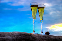 Two glasses of champagne white wine standing on a log Royalty Free Stock Image