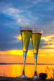 Two glasses of champagne white wine standing on a log Stock Photography