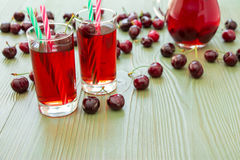 Two glasses of cherry juice and empty space. Royalty Free Stock Photos