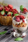 Two glasses of chia pudding with fresh strawberries, raspberries royalty free stock photos