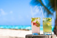 Two glasses of chilled cocktail mohito and Royalty Free Stock Images