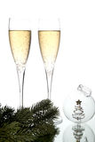Two glasses and christmas decoration Stock Image
