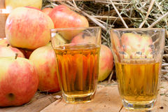 Two glasses of cider with some apples Stock Images