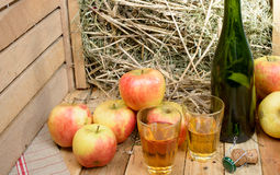 Two glasses of cider with some apples Stock Photo