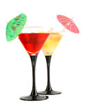Two glasses with a cocktail. On white background Royalty Free Stock Image