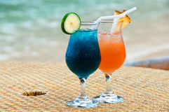 Two glasses of coctails Stock Photos