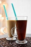 Two glasses of coffee Stock Images