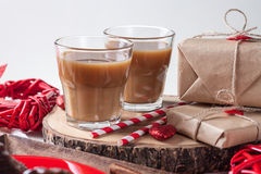 Two glasses of coffee and straws Royalty Free Stock Images