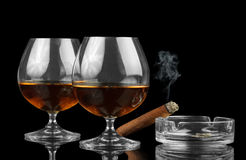 Two Glasses of cognac Royalty Free Stock Image