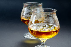 Two glasses of cognac Stock Images
