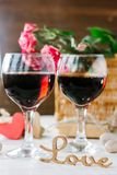 Two glasses of cola on Valentine's day celebration.  stock photos