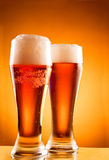 Two glasses with cold beer Royalty Free Stock Photos