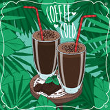 Two glasses with cold coffee or choco milkshake. Nice composition with two glasses cold coffee or cocoa milkshake, near pieces of chocolate bar on wooden table Stock Photos
