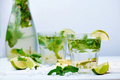 Two glasses of a cold fresh lemonade drink Royalty Free Stock Photos