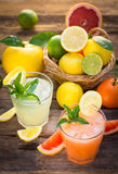 Two glasses with cold lemonade Stock Photos