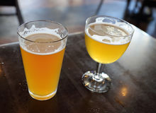 Two Glasses of Craft Beer Royalty Free Stock Photography