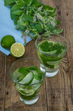 Two glasses with cucumber lemonade Royalty Free Stock Images