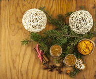 Two glasses of eggnog from above Royalty Free Stock Photography