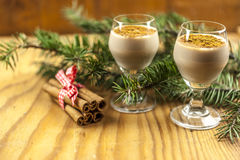 Two glasses of eggnog Royalty Free Stock Photo