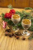 Two glasses of eggnog Stock Image