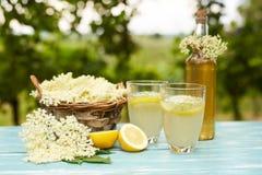 Two glasses of elderflower lemonade and bottle Royalty Free Stock Photo