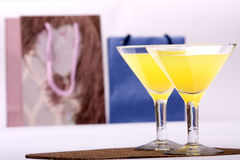 Two glasses & evening-party. Two glasses stands on a background Packages atmosphere of evening-party royalty free stock photo